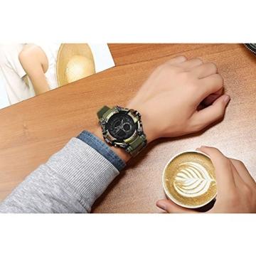 Digital Sports Watch LED-Bildschirm große Gesicht Militäruhren und wasserdicht lässig leuchtenden Stoppuhr Alarm einfache Armee Watch (Farbe : ArmyGreen) - 6