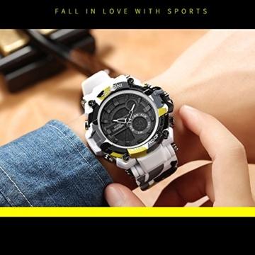 Digital Sports Watch LED-Bildschirm große Gesicht Militäruhren und wasserdicht lässig leuchtenden Stoppuhr Alarm einfache Armee Watch (Farbe : ArmyGreen) - 7