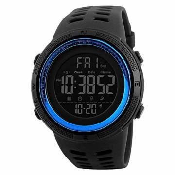 Digitale Armbanduhr für Herren, Herren, wasserdicht, Militär-Uhren, legere elektronische Uhr mit Alarm/Timer/2 Zeitzonen, Outdoor-Sport-Armbanduhr für Herren/Teenager (Blau) - 1