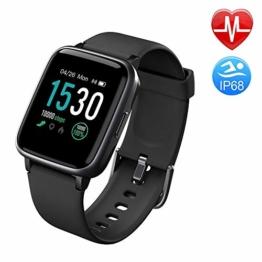 Duang Smartwatch, Bluetooth Fitnessuhr Damen Fitness Tracker Herren, 1,3-Zoll-Farbbildschirm Sportuhr mit Schrittzähler Pulsmesser Schwimmen wasserdicht IP68, iOS Smartwatch Android-Handy (Black) - 1