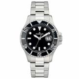 Dugena Herren Quarz-Armbanduhr, Schraubkrone, Wasserdicht bis 30 bar, Diver, Silber/Schwarz, 4460775 - 1