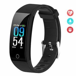 EFO SHM Fitness Armband Blutdruck Fitness Tracker Wasserdicht IP68 Schrittzähler Sport Uhr Aktivitätstracker Stoppuhr Pulsmesser Damen Herren Anruf SMS Vibrationsalarm für Handy - 1