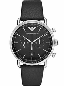 Emporio Armani Herren Chronograph Quarz Uhr mit Leder Armband AR11143 - 1