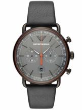 Emporio Armani Herren Chronograph Quarz Uhr mit Leder Armband AR11168 - 1