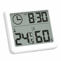 Esplic Digitales Thermometer-Hygrometer, Temperatur-, Feuchtigkeits- und Uhr-3-in-1-Recorder für Wohnzimmer, Schlafzimmer, Arbeitszimmer, Badezimmer, Küche, Bauernhof - 1