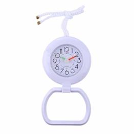 F Fityle Wasserdicht Wanduhr Badezimmeruhr Baduhr Küchenuhr Duschuhr Saugnapf Uhr mit Handtuchring - Weiß - 1