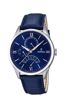 Festina Herren Analog Quarz Uhr mit Leder Armband F16823/3 - 1