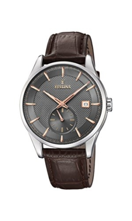 Festina Herren Analog Quarz Uhr mit Leder Armband F20277/3 - 1