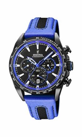 Festina Unisex Erwachsene Chronograph Quarz Smart Watch Armbanduhr mit Leder Armband F20351/2 - 1