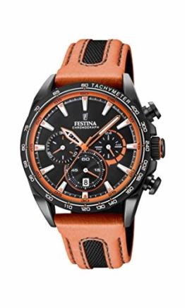 Festina Unisex Erwachsene Chronograph Quarz Smart Watch Armbanduhr mit Leder Armband F20351/5 - 1