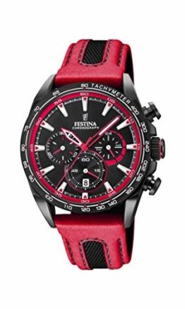 Festina Unisex Erwachsene Chronograph Quarz Smart Watch Armbanduhr mit Leder Armband F20351/6 - 1