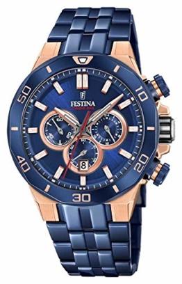 Festina Unisex Erwachsene Chronograph Quarz Uhr mit Edelstahl Armband F20452/1 - 1