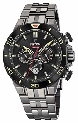 Festina Unisex Erwachsene Chronograph Quarz Uhr mit Edelstahl Armband F20453/1 - 1