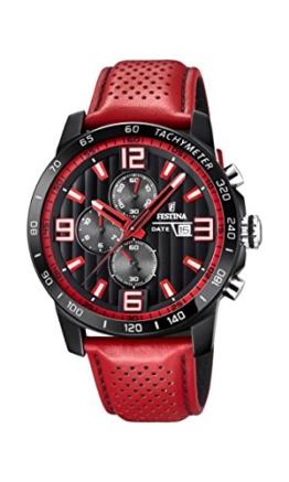 Festina Unisex Erwachsene Chronograph Quarz Uhr mit Leder Armband F20339/5 - 1