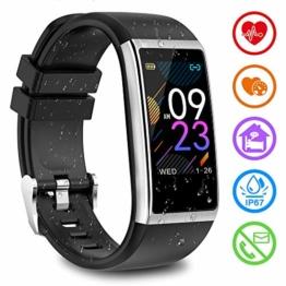 Fitness Armband mit Pulsmesser Fitness Tracker mit Blutdruckmessung Pulsuhren Fitness Uhr Aktivitätstracker Schrittzähler Schlafmonitor Uhr Wasserdicht IP67 Smartwatch Herren Damen für iOS Android - 1