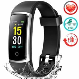 Fitness Armband mit Pulsmesser, Wasserdicht IP68 Pulsuhr Fitness Tracker Farbbildschirm Aktivitätstracker Fitness Uhr Schrittzähler Schlafmonitor mit Blutdruckmesser für Damen Herren Anruf SNS SMS - 1
