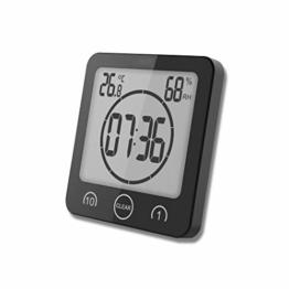 FLYDEER Dusche Uhr Badezimmer Uhr Digital Große Anzeige Touchscreen Timer mit Temperatur Luftfeuchtigkeit Display für Badezimmer Dusche Küche (Schwarz) - 1