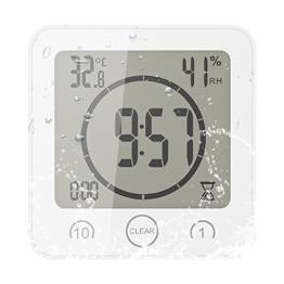 FORNORM Shower Clock Dusche Uhr Wasserdicht, Badezimmer Uhr Digital mit Saugnapf LCD Display Luftfeuchtigkeit Temperatur Wanduhren, AM/PM oder 24 Stunden Format, Batterien, Countdown Timer, Weiß - 1