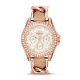 Fossil Damen Analog Quarz Uhr mit Leder Armband ES3466 - 1