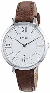 Fossil Damen Analog Quarz Uhr mit Leder Armband ES3708 - 1