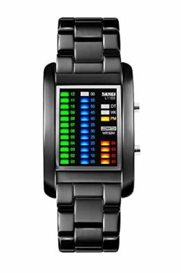 FunkyTop Binär Matrix LED Digital Wasserdichte Uhr Mens Classic Kreative Mode Schwarz überzogen Armbanduhren (schwarz) - 1