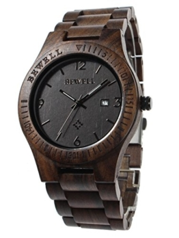 FunkyTop Herren Business Armbanduhren 100% Natürlich Holz Analog Quarzwerk mit Kalender Display Holz Uhr (Ebenholz) - 1
