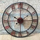 Groß 47Cm Classic Vintage Gusseisen Schmiedeeisen Garten-Wand montiert Uhr im - 1