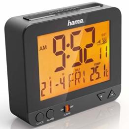 Hama Funk Wecker RC550 (sensorgesteuerte Nachtlichtfunktion, Schlummerfunktion, Temperatur- und Datumsanzeige) Digital schwarz - 1
