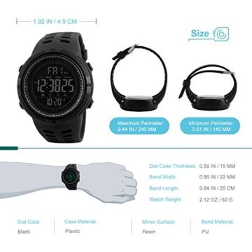 Herren Digital Sport Uhren - Outdoor wasserdichte Armbanduhr mit Wecker Chronograph und Countdown Uhr, LED Licht Gummi Schwarz große Anzeige Digitaluhrenfür Herren - 2