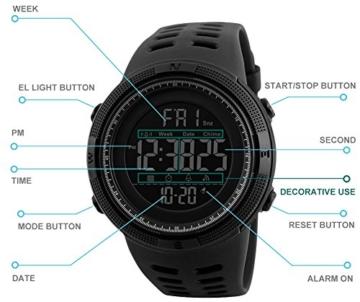 Herren Digital Sport Uhren - Outdoor wasserdichte Armbanduhr mit Wecker Chronograph und Countdown Uhr, LED Licht Gummi Schwarz große Anzeige Digitaluhrenfür Herren - 3