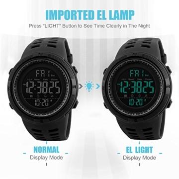 Herren Digital Sport Uhren - Outdoor wasserdichte Armbanduhr mit Wecker Chronograph und Countdown Uhr, LED Licht Gummi Schwarz große Anzeige Digitaluhrenfür Herren - 4