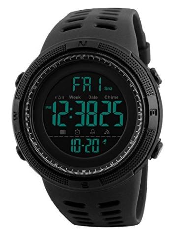 Herren Digital Sport Uhren - Outdoor wasserdichte Armbanduhr mit Wecker Chronograph und Countdown Uhr, LED Licht Gummi Schwarz große Anzeige Digitaluhrenfür Herren - 1