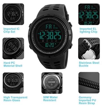 Herren Digital Sport Uhren - Outdoor wasserdichte Armbanduhr mit Wecker Chronograph und Countdown Uhr, LED Licht Gummi Schwarz große Anzeige Digitaluhrenfür Herren - 5