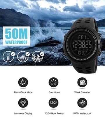 Herren Digital Sport Uhren - Outdoor wasserdichte Armbanduhr mit Wecker Chronograph und Countdown Uhr, LED Licht Gummi Schwarz große Anzeige Digitaluhrenfür Herren - 6