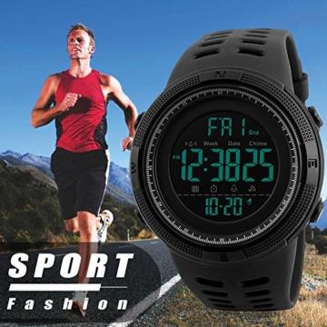 Herren Digital Sport Uhren - Outdoor wasserdichte Armbanduhr mit Wecker Chronograph und Countdown Uhr, LED Licht Gummi Schwarz große Anzeige Digitaluhrenfür Herren - 7