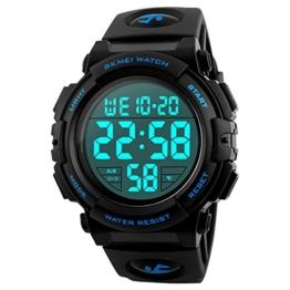 Herren Digitale Armbanduhr, Outdoor Laufen 5 Bar wasserdichte militärische Uhren, Cool Sport große Anzeige LED Sportuhr mit Wecker für Herren - 1