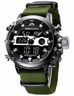 Herren Uhren Männer Militär Digitaluhr Sport Chronograph LED Wasserdicht Großes Braun Leder Armbanduhren Mann Multifunktions Digital Analog Wecker Datum Modisch Uhr - 1