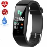 HETP Fitness Armband mit Pulsmesser Fitness Tracker Uhr Wasserdicht IP67 Blutdruckmesser Schrittzähler Uhr Stoppuhr Sport Aktivitätstracker Anruf SMS für Kinder Damen Männer - 1