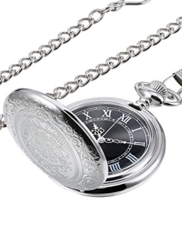 Hicarer Herren Analog Quarz Taschenuhr (Silber) - 1