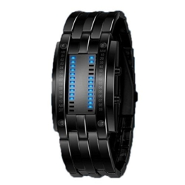 Highdas Wasserdicht Hochgradige Wolframstahl Paar Doppel-LED Binary Watch Schwarz/L - 1