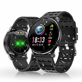HOLALEI Smartwatch, Fitness Armband Wasserdicht Smart Watch Intelligente Fitness Tracker Aktivitäts Uhr Armbanduhr mit Pulsmesser Schlafmonitor Anruf Beachten Damen Herren für Android iOS (Schwarz) - 1