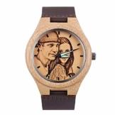 Housweety Personalisierte Bambus Uhren Foto Armbanduhr mit Foto und Text Gravur für Männer Frauen - 1