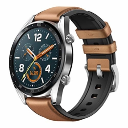 Huawei Watch GT Classic Smartwatch (46 mm Amoled Touchscreen, GPS, Fitness Tracker, Herzfrequenzmessung, 5 ATM wasserdicht) Saddle/braun - 1