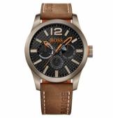 Hugo Boss Orange Paris Herren-Armbanduhr Quartz mit braunem Leder Armband 1513240 - 1