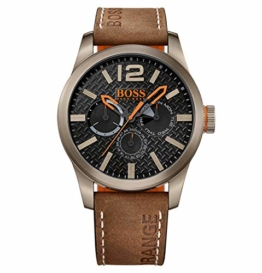 Hugo Boss Orange Paris Herren-Armbanduhr Quartz mit braunem Leder Armband 1513240 - 1