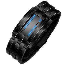 iHee Armband, bequem zu tragen, Luxus-Edelstahlband für Herren, digitales LED-Armband, Sportuhr, modisch, leicht zu verwenden, sehr cool (Schwarz) - 1