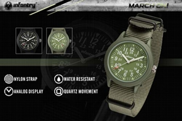 Infantry Herren Uhr Armbanduhr Männer Militär Uhren Herrenarmbanduhr Fliegeruhr Nylonband Grün Militäruhr Tactical Watch - 2