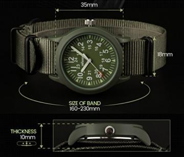 Infantry Herren Uhr Armbanduhr Männer Militär Uhren Herrenarmbanduhr Fliegeruhr Nylonband Grün Militäruhr Tactical Watch - 3