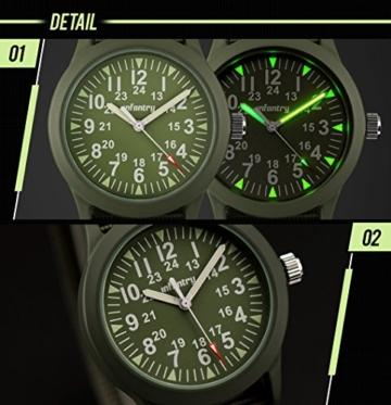 Infantry Herren Uhr Armbanduhr Männer Militär Uhren Herrenarmbanduhr Fliegeruhr Nylonband Grün Militäruhr Tactical Watch - 4