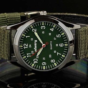Infantry Herren Uhr Armbanduhr Männer Uhren Militäruhr Outdoor Herrenarmbanduhr Herrenuhren Militär Grün Nylonband - 3